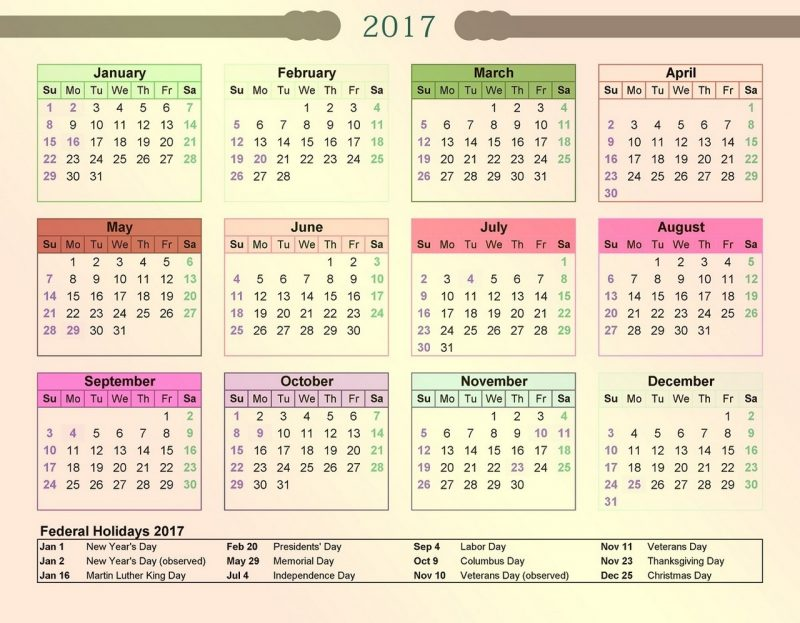 1 page calendar 2017 image