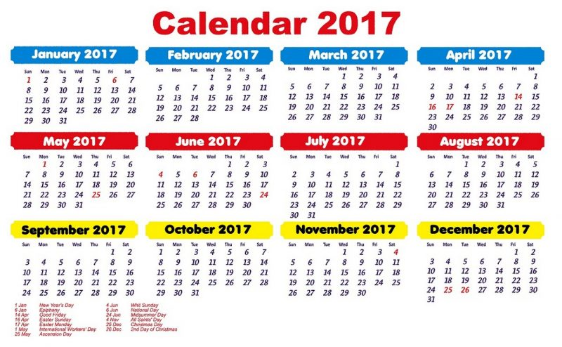1 page calendar 2017 picture