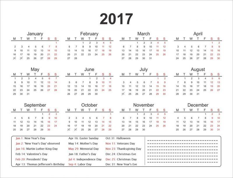 1 page calendar 2017 simple