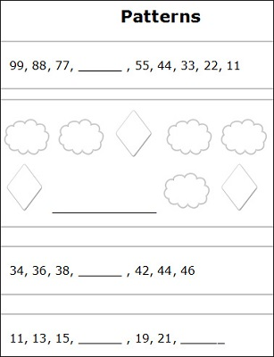 1st Grade Math Worksheets Patterns