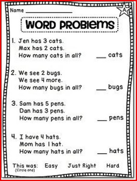 1st Grade Math Worksheets Word Problem