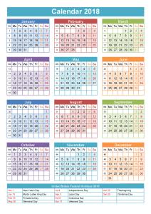 2018 1 page calendar color