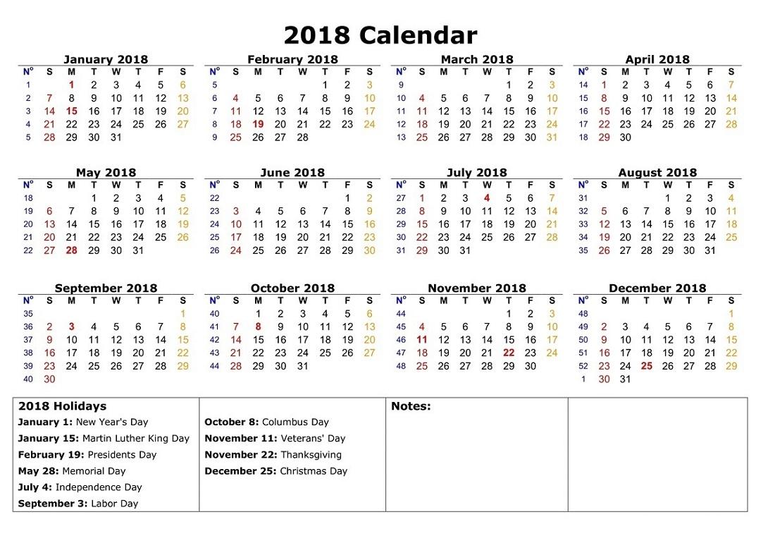 2018 1 page calendar free