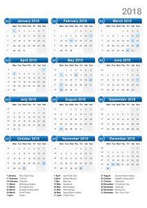 2018 1 page calendar image