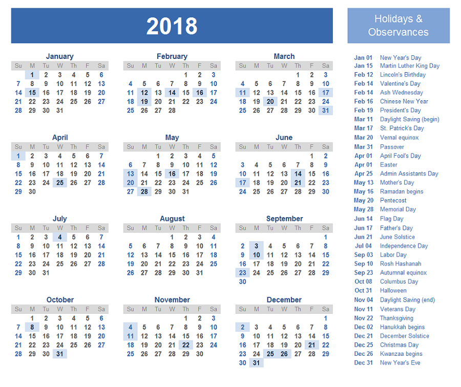 2018 1 page calendar with holiday
