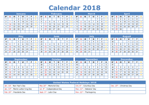2018 1 page calendar yearly