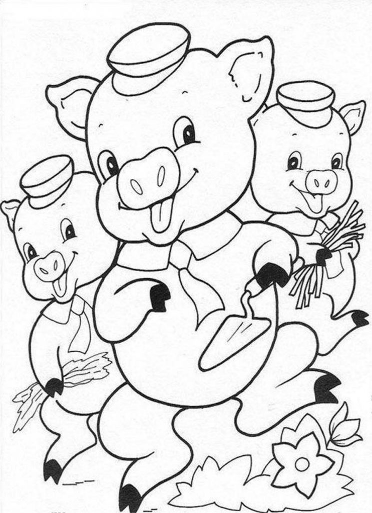 3 little pigs coloring pages for preschoolers sheet