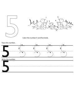 5 tracing worksheet practice
