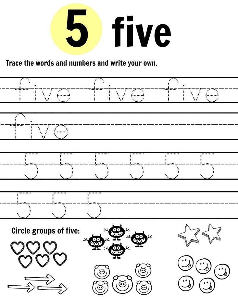 worksheet Tracing Number 5 Worksheets 5 tracing worksheet for preschool learning printable practice
