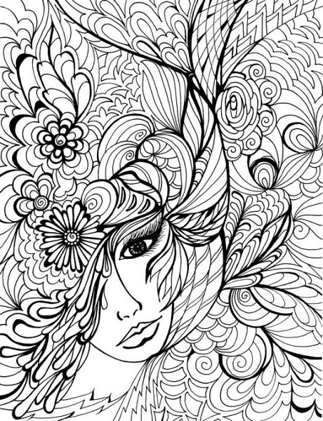Adult Coloring Pages girl face