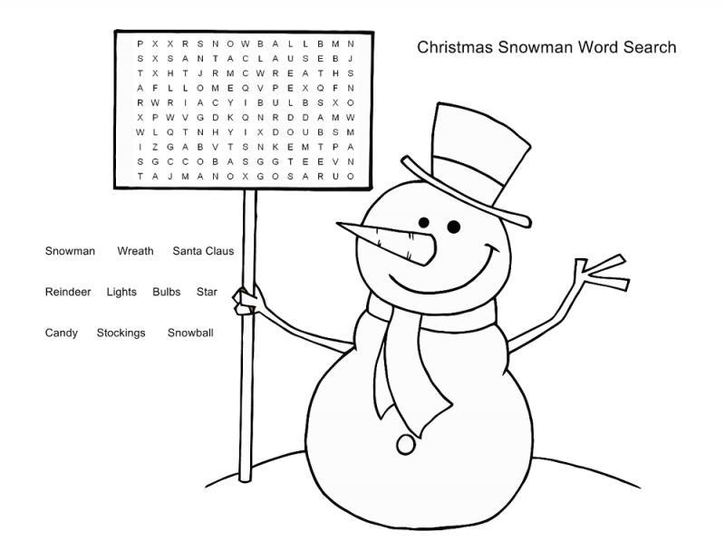 Christmas snowman word search printables for kids