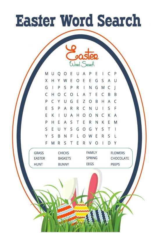 Easter word search printables for kids