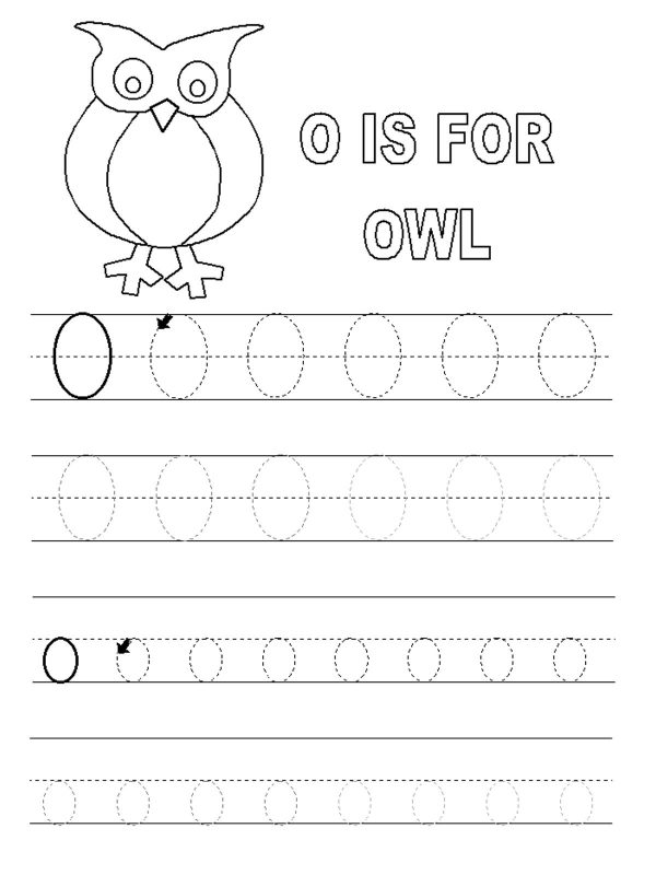 Letter o Tracing Worksheet printable
