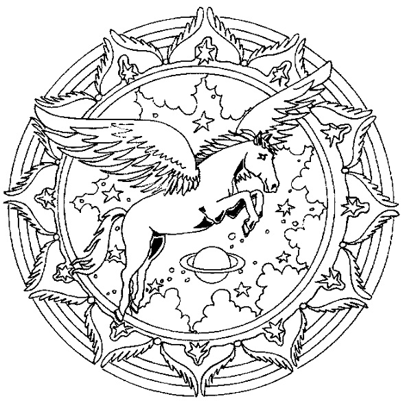 Mandala Coloring Pages Pegasus