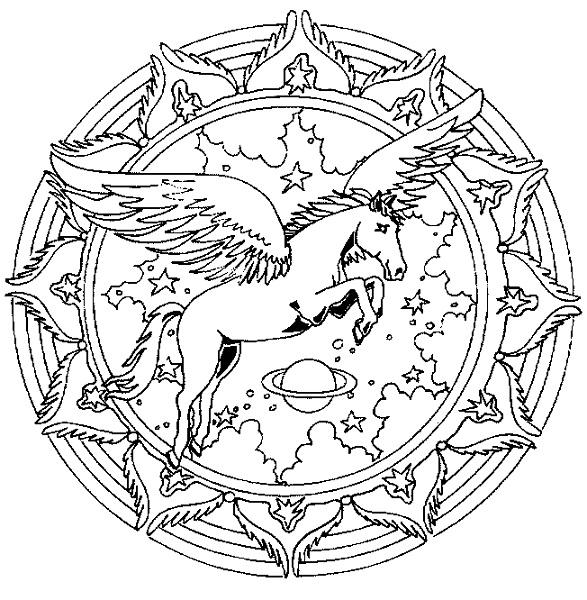 Mandala Coloring Pages Pegasus