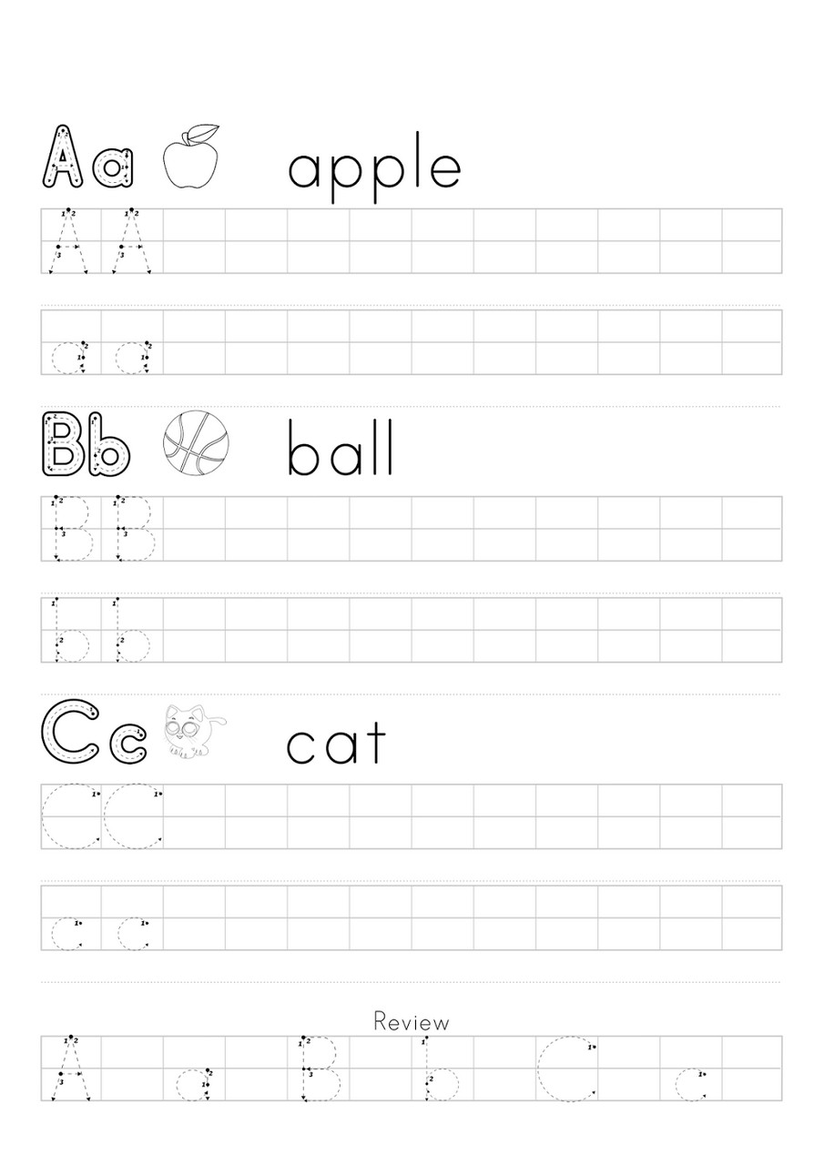 a b c tracing worksheets practice