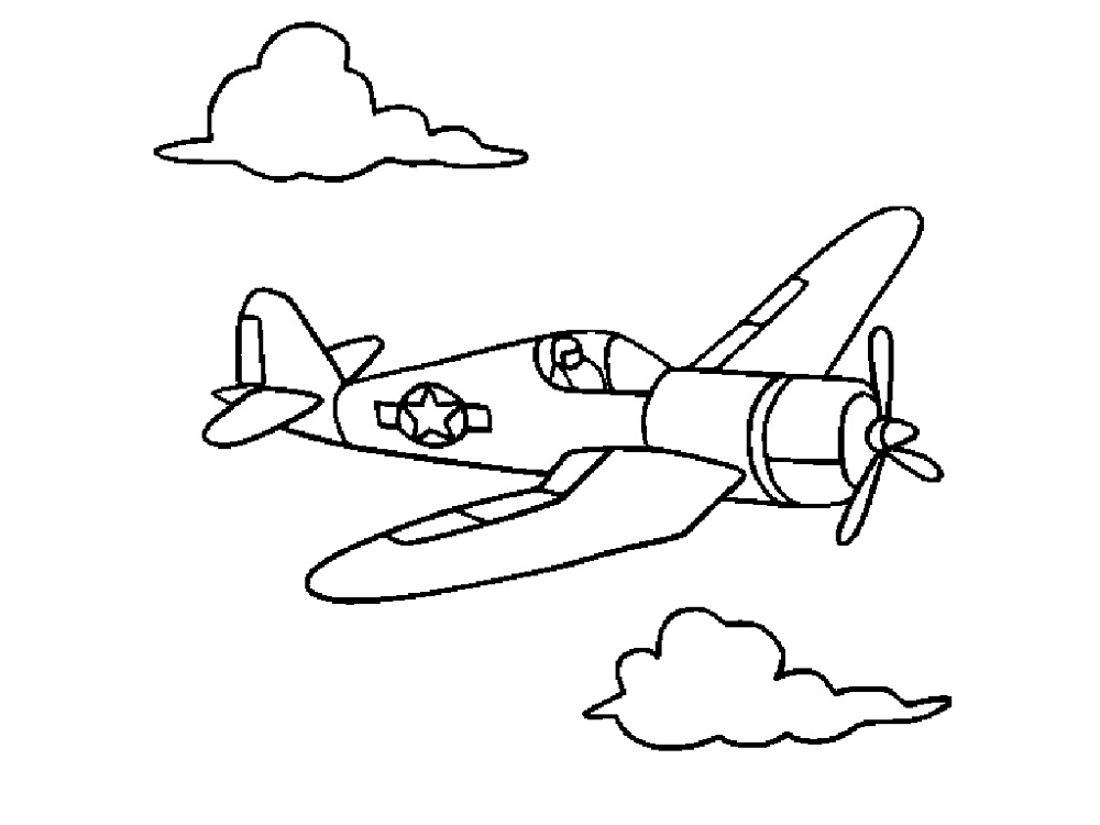 airplane colouring for kids