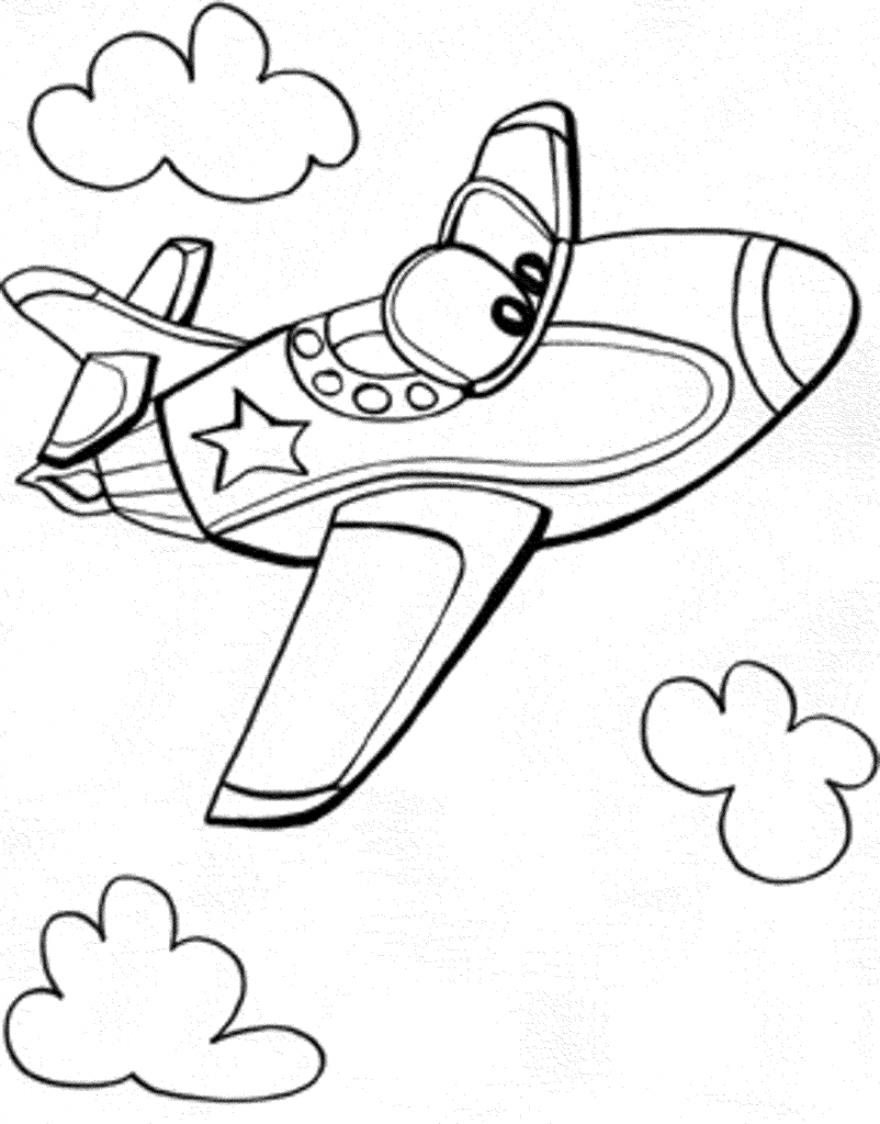 Airplane Colouring Sheets