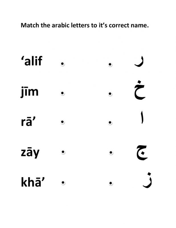 arabic letters worksheets practice