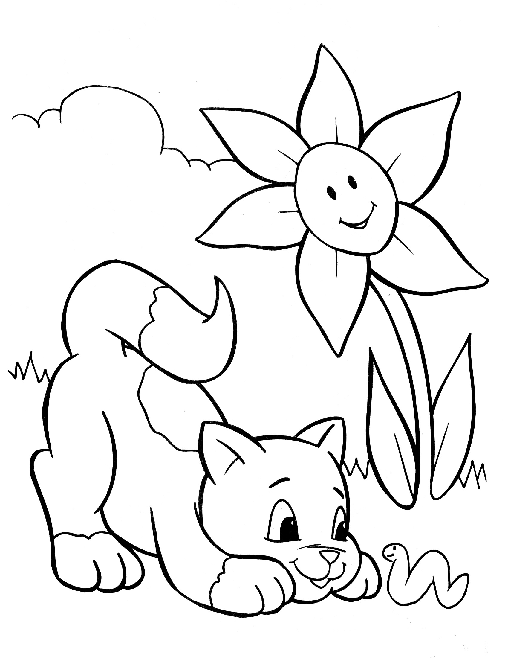 colouring pages cat and flower for kids