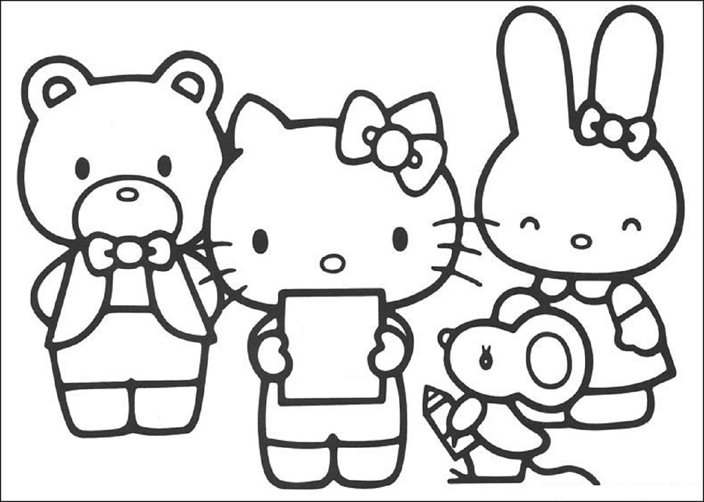 colouring pages hello kitty and friends