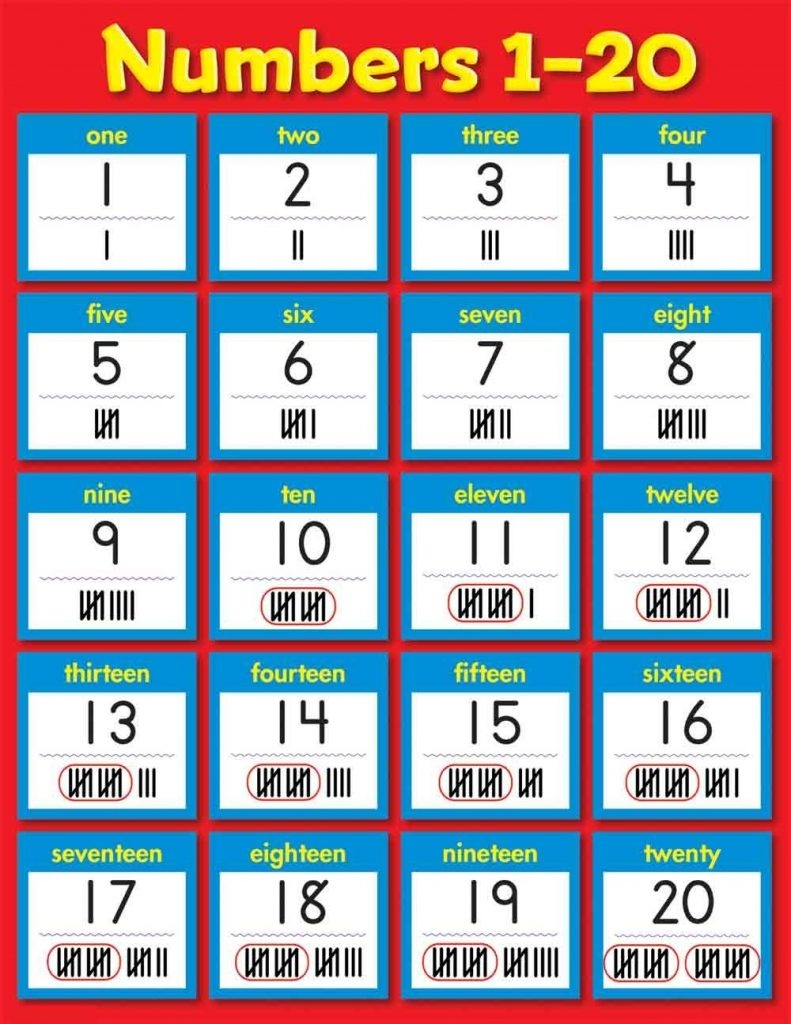 count to 20 printable page