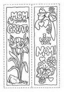 cute bookmarks to color card