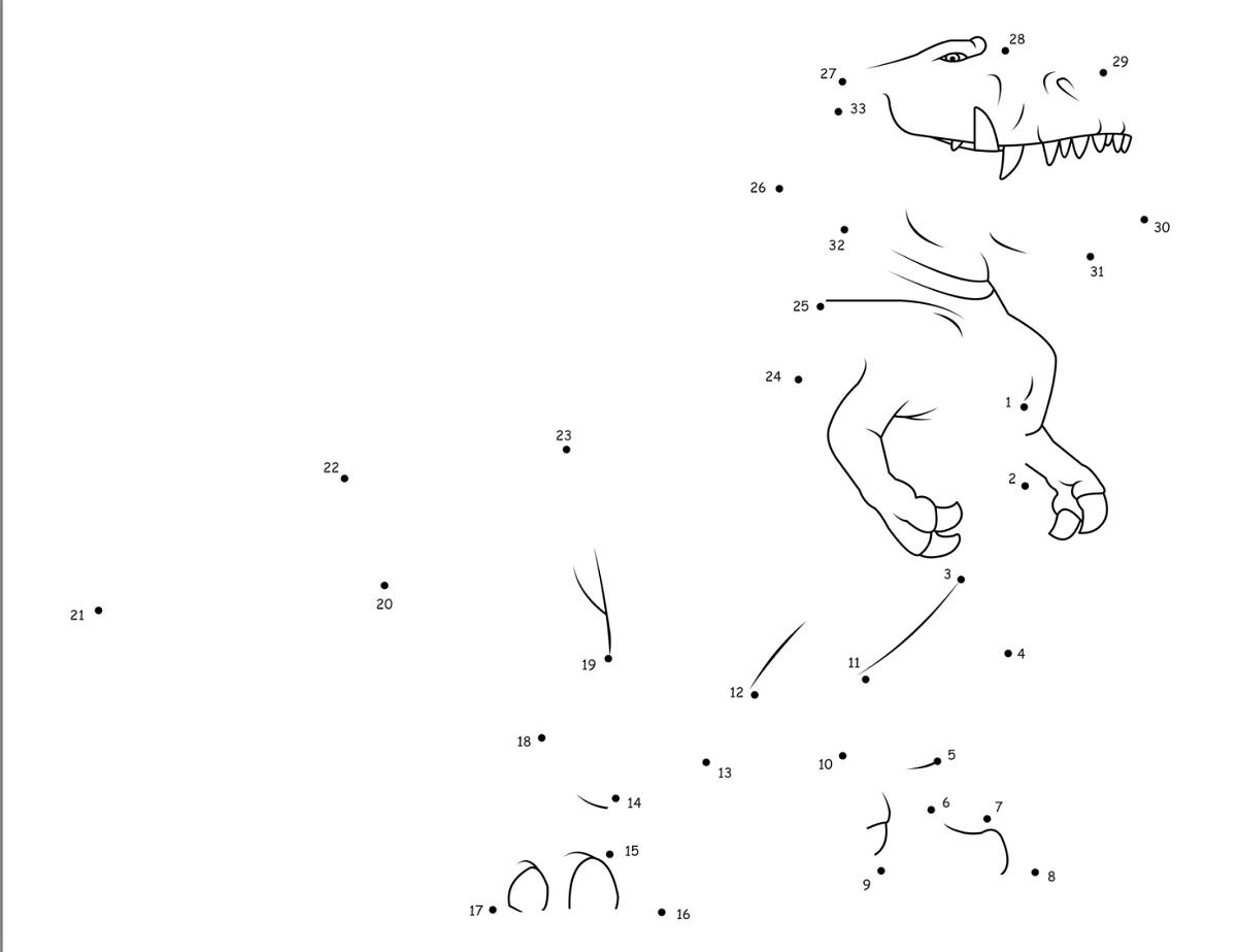 dinosaur dot to dot pictures worksheet
