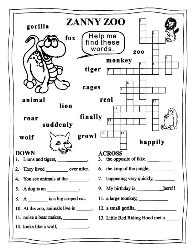 crossword english printable worksheets 3 grade puzzle