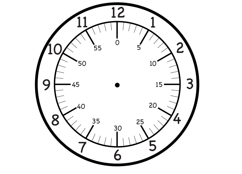 face of a clock with minutes simple