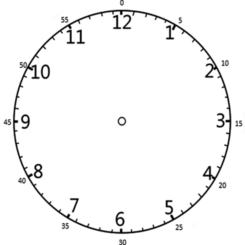 Face Of A Clock With Minutes on Blank Worksheets For Kindergarten T