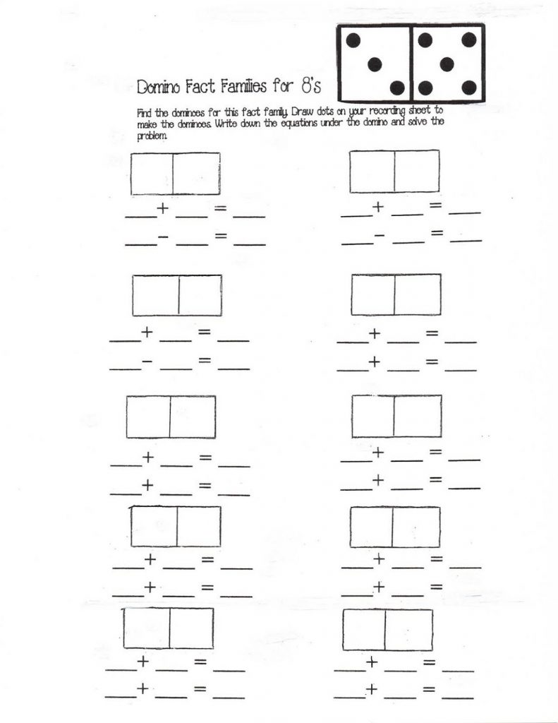 fact family worksheets free domino