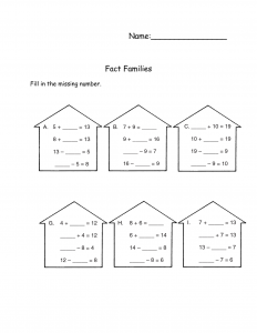 fact family worksheets free for kids