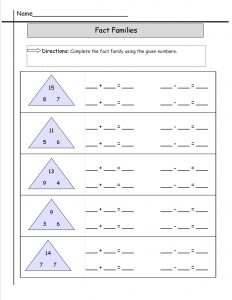 fact family worksheets free page