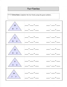 family of facts worksheets page