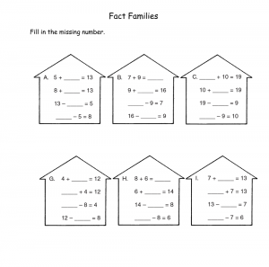 family of facts worksheets practice