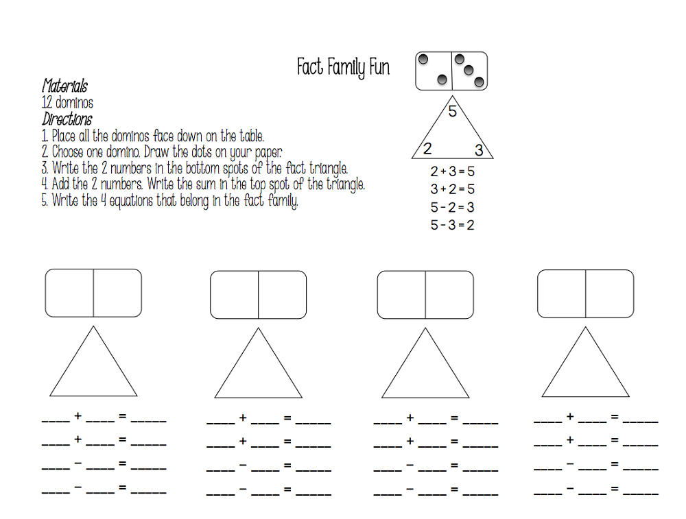 family of facts worksheets printable