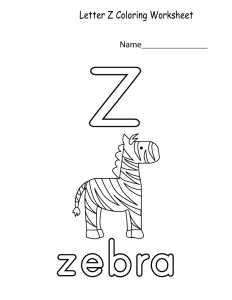 free printable worksheets for preschoolers for the letter z for kids