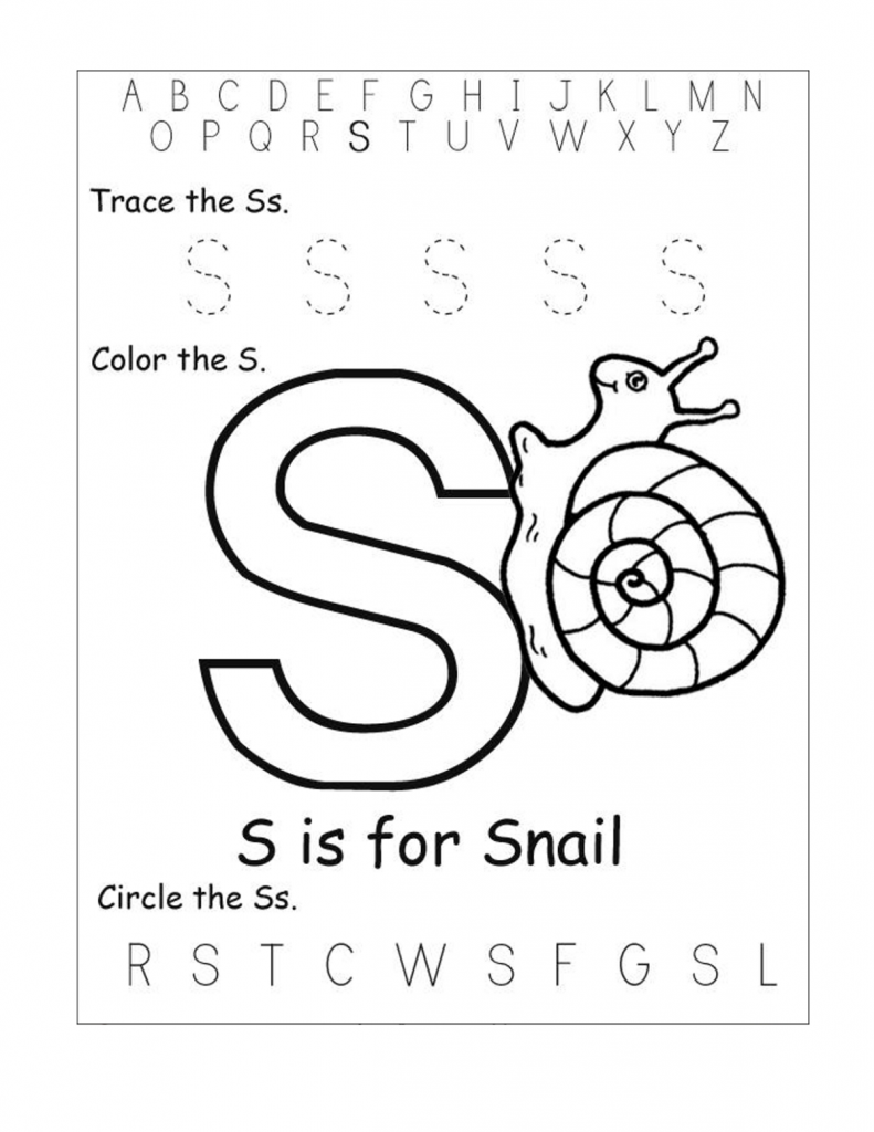 Free Printable Worksheets For The Letter S For Kindergarten