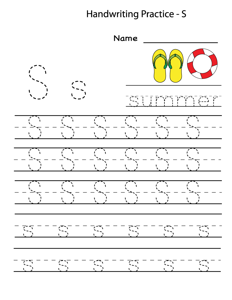 free printable worksheets for the letter S for kindergarten tracing