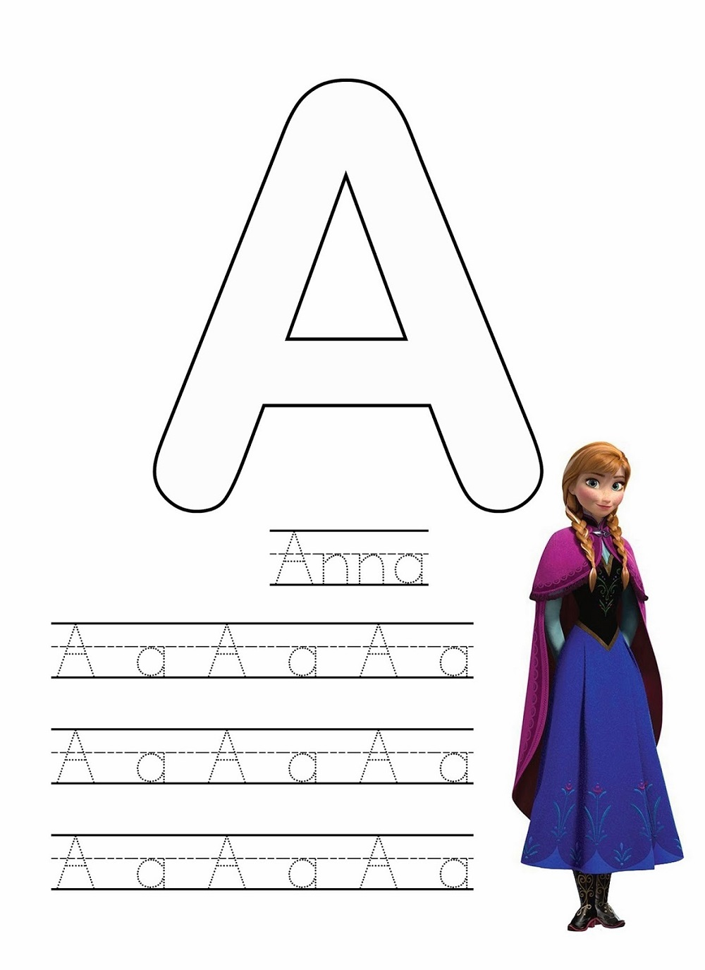 frozen worksheet printable letter A to trace