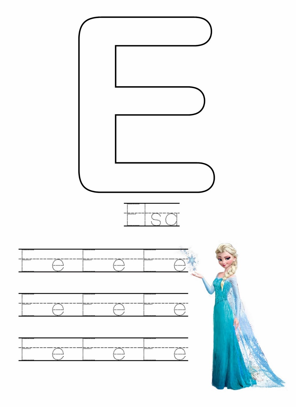 frozen worksheet printable letter E to trace