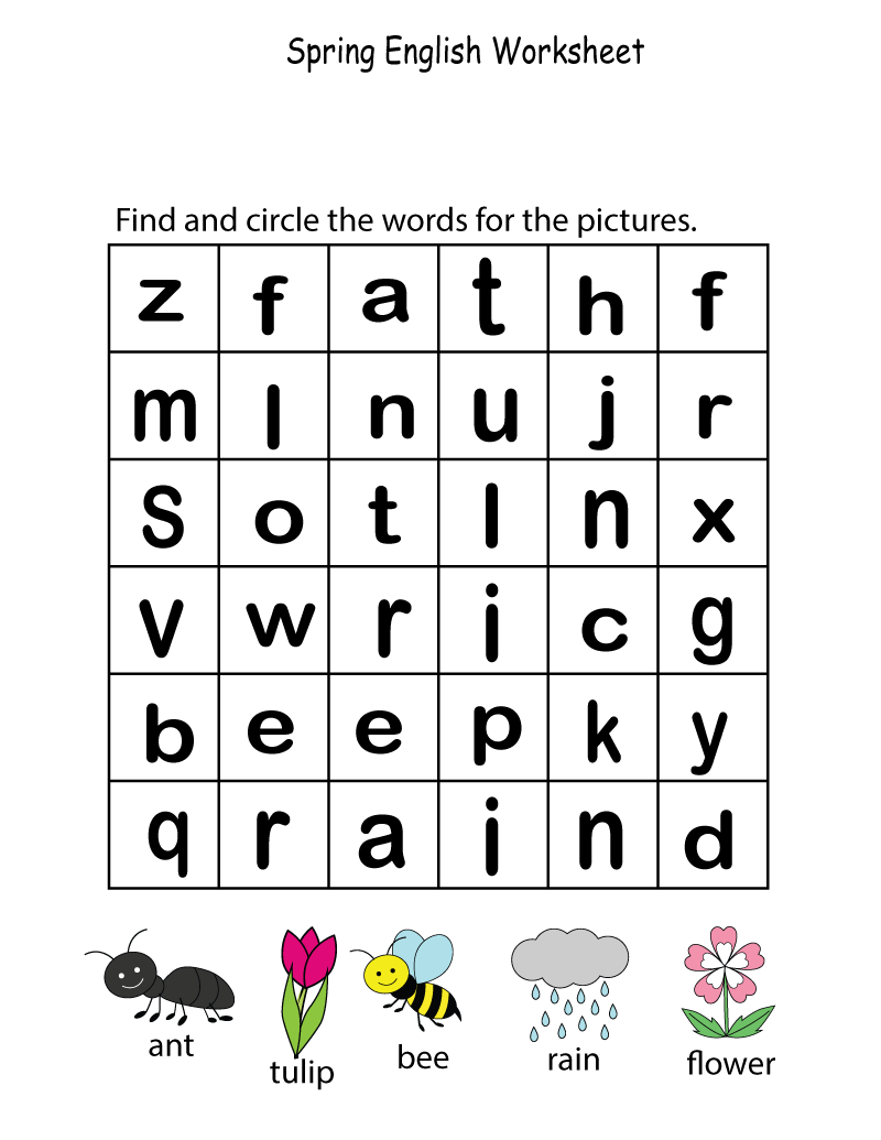 kid activity pages printables wordsearch
