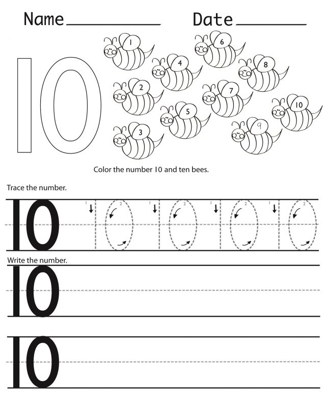 learning the number 10 printable