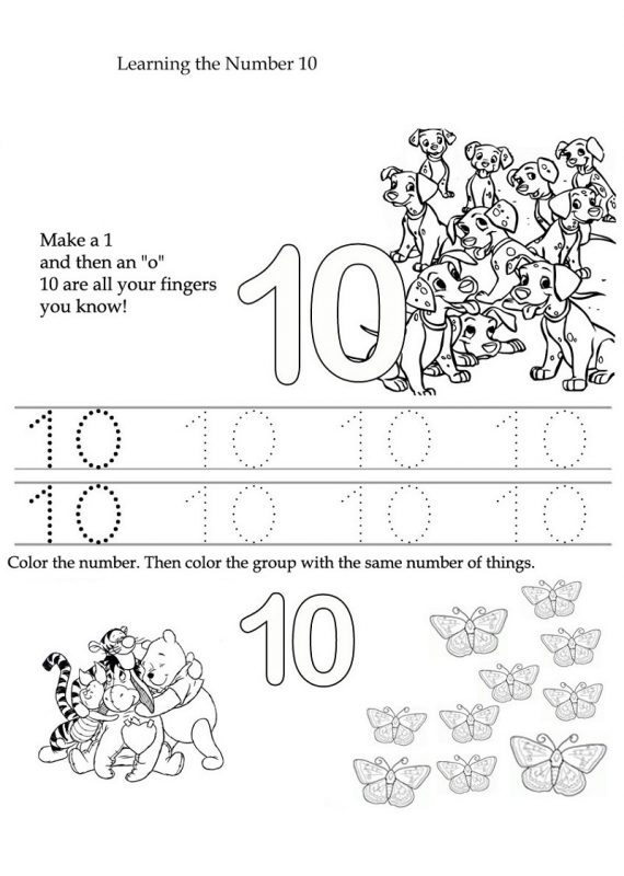 learning the number 10 tracing and coloring