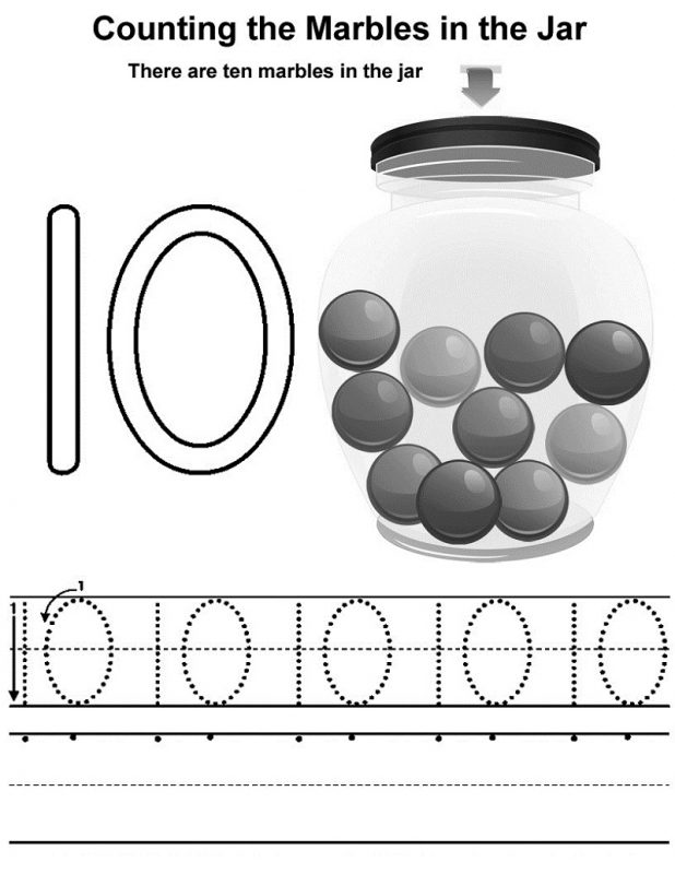learning the number 10 tracing and counting