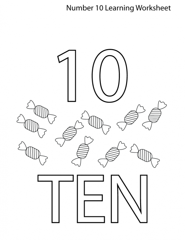 learning the number 10 worksheet easy coloring 10 candy