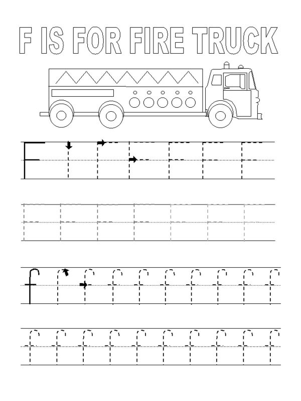 letter f tracing worksheets for kids