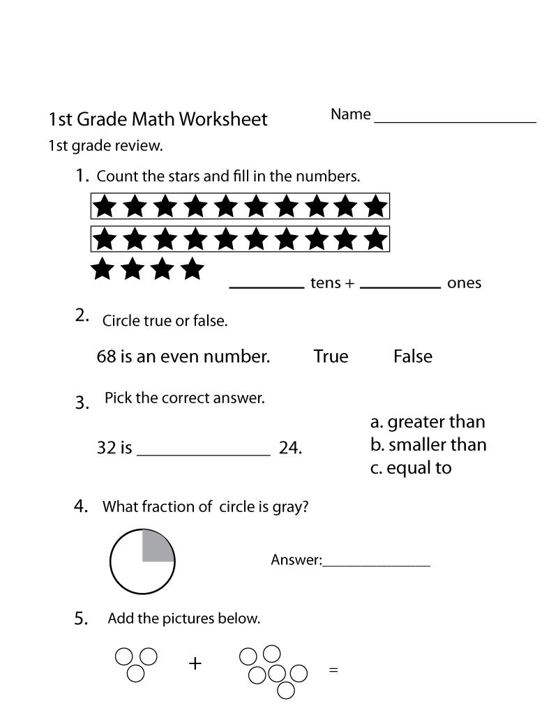 math grade1 worksheet page printable