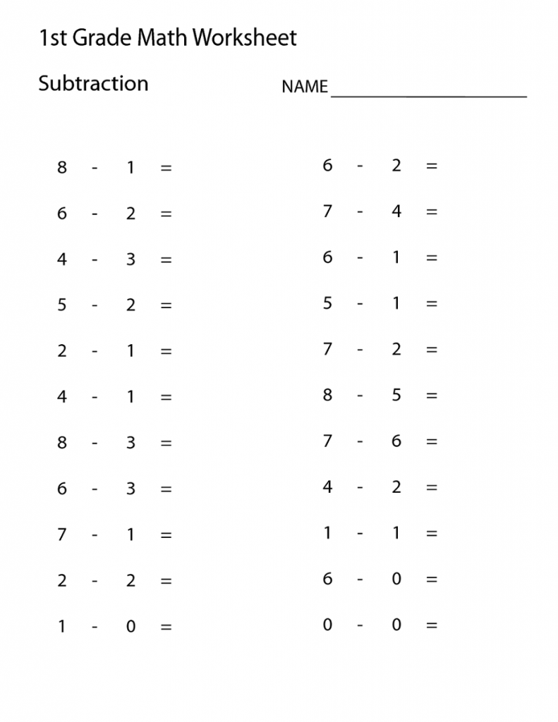 math grade1 subtraction printable